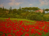 Tuscan Poppies, Italy 2010 14x18 Original Painting by Alex Dzigurski II - 1