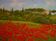 Tuscan Poppies, Italy 2010 14x18 Original Painting by Alex Dzigurski II - 0