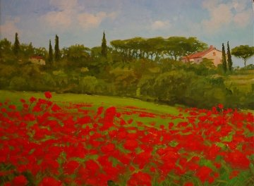 Tuscan Poppies, Italy 2010 14x18 Original Painting - Alex Dzigurski II