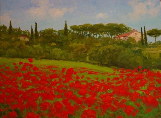 Tuscan Poppies, Italy 2010 14x18 Original Painting by Alex Dzigurski II
