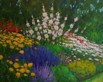 Carmel Cottage Garden 2010 28x24 Original Painting - Alex Dzigurski II