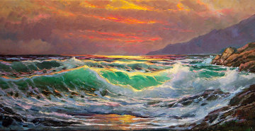 Evening Fire, Big Sur, California 2013 18x36 Original Painting - Alex Dzigurski II