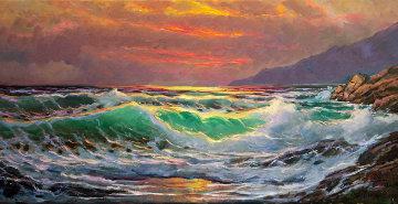 Evening Fire, Big Sur, California 2013 18x36 Original Painting by Alex Dzigurski II