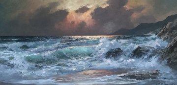 Untitled Seascape 31x55 Original Painting - Alex Dzigurski Sr.