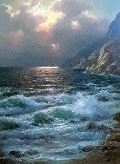 Rugged Coast California 44x34  Huge Original Painting - Alex Dzigurski Sr.
