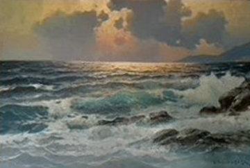 Untitled Seascape 26x38 Original Painting by Alex Dzigurski Sr.