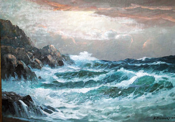 Untitled Seascape 14x20 Original Painting - Alex Dzigurski Sr.
