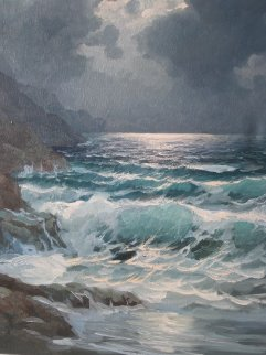 Pacific Moonlight, Carmel  1974 29x25 Original Painting - Alex Dzigurski Sr.