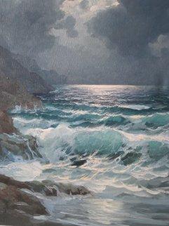 Pacific Moonlight, Carmel  1974 29x25 Original Painting by Alex Dzigurski Sr.