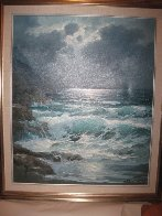 Pacific Moonlight, Carmel  1974 29x25 Original Painting by Alex Dzigurski Sr. - 1