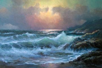 Pacific Sunset 29x41 Original Painting by Alex Dzigurski Sr.