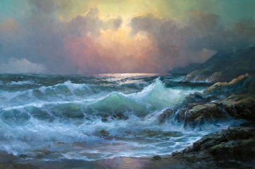 Pacific Sunset 29x41 Original Painting - Alex Dzigurski Sr.