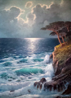 Untitled Seascape 49x39 Super Huge Original Painting - Alex Dzigurski Sr.