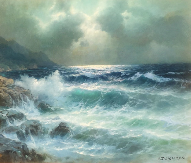 Moonlight on the Pacific 1986 45x33 Original Painting by Alex Dzigurski Sr.