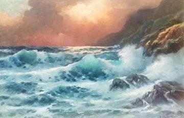 Autumn Sunset 1978 32x38 Original Painting - Alex Dzigurski Sr.