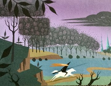 Sleeping Beauty Concept Painting 6x14 Original Painting - Eyvind Earle