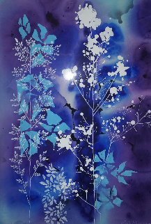Blue And Purple Floral Watercolor 38x30 Watercolor - Eyvind Earle