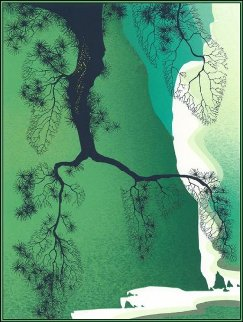 Sea Cliffs and Pine Branch 2000  Limited Edition Print by Eyvind Earle