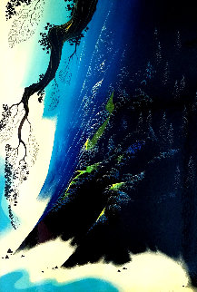 Azure Blue 1991 31x21 Original Painting - Eyvind Earle