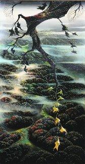 Fog Laced Hills 1995 54x34 Huge Original Painting - Eyvind Earle