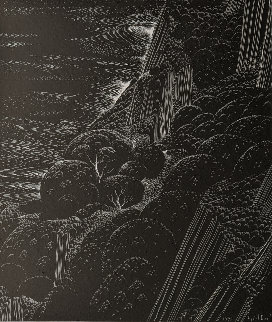 Coastline Unique Scratchboard, 1995 28x25 Other - Eyvind Earle