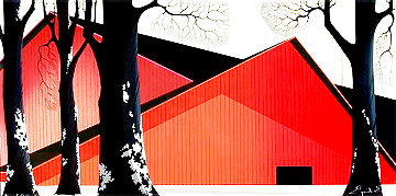 Great Red Barns 1989 Limited Edition Print - Eyvind Earle