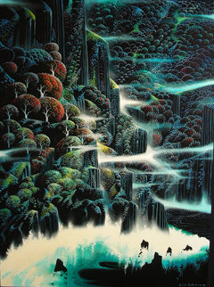 Ocean Cliffs 1991 40x30 Huge  Original Painting - Eyvind Earle