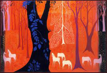 Seven White Horses 1982 Limited Edition Print by Eyvind Earle