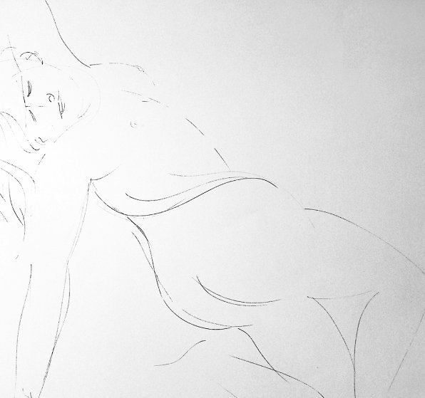 Donna Diagonale - Diagonal Woman Drawing 1969 27x39 Drawing by Emilio Greco