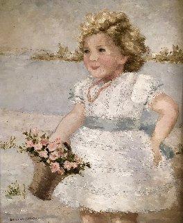 Petite Fille Aux Fluers 34x30 Original Painting - Suzanne Eisendieck