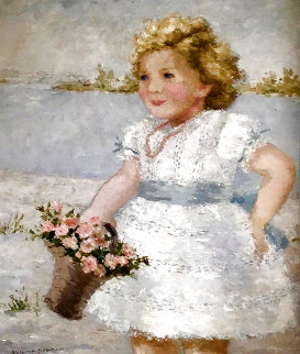 Petite Fille Aux Fleurs 34x30 Original Painting - Suzanne Eisendieck