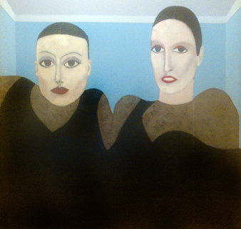 Models (Neil Dreyer And Other Model)  Original Painting - Eugene  Jardin