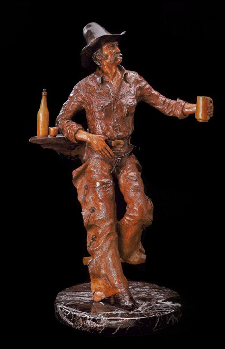 Thirsty Fella Bronze Sculpture 1967 27 in Sculpture by Elie Hazak