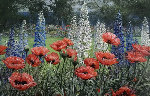 Poppies and Delphiniums 32x44 Original Painting - Peter Ellenshaw