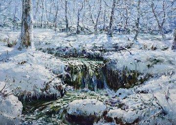 Vermont Winter 1982 36x42 Huge Original Painting - Peter Ellenshaw