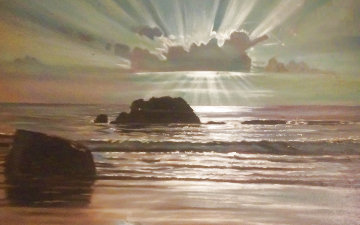 Moonlight At Sea 1967 47x30 Original Painting - Peter Ellenshaw