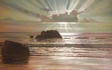 Moonlight At Sea 1967 47x30 Huge Original Painting - Peter Ellenshaw