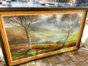 Lough Caragh 1975 45x76 Super Huge Irish Landscape Original Painting - Peter Ellenshaw