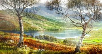 Lough Caragh 1975 44x76 Huge Irish Landscape Original Painting - Peter Ellenshaw