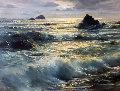 Golden Hour - (California Seascape) 1957 47x37 Original Painting - Peter Ellenshaw