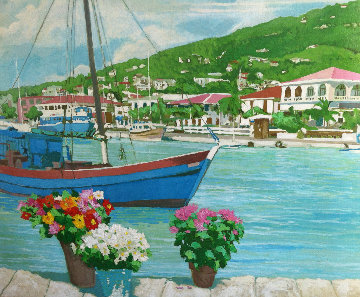 Charlotte Amalie 1986 53x63 Original Painting by Russ Elliott