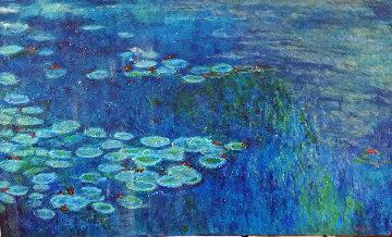 Blue Waterlilies 2012 36x60 Huge Original Painting - Russ Elliott