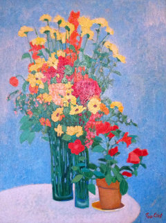 Yellow Flowers 41x31 Original Painting - Russ Elliott