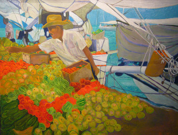 Fruit Vendor, Brazil 1997 38x48 Original Painting - Russ Elliott