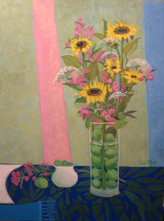 Sunflower Vase 1997 40x30 Original Painting - Russ Elliott
