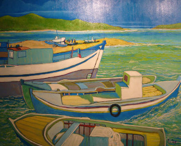 Mykonos, Greece 1985 40x50 Super Huge Original Painting - Russ Elliott