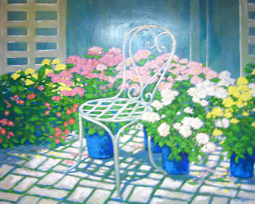Garden Chair 1994 39x49 Original Painting - Russ Elliott