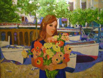 Girl With Flowers 1998 Original Painting by Russ Elliott
