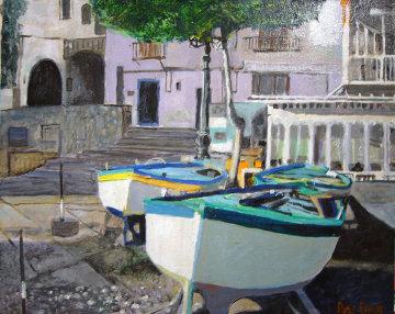 Positano Boats, Italy 1986 16x20 Original Painting - Russ Elliott