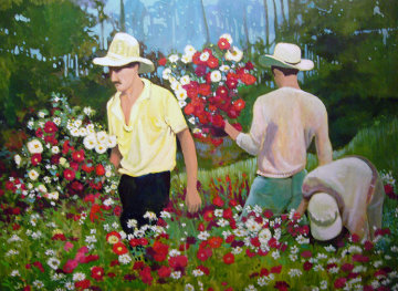Flower Vendors 1987 30x40 Original Painting - Russ Elliott